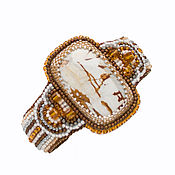 Украшения handmade. Livemaster - original item Beaded bracelet with jasper Time brown massive bracelet. Handmade.