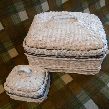 Для дома и интерьера ручной работы. Ярмарка Мастеров - ручная работа Плетеные коробочки в морском стиле. Handmade.