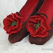 """Обувь ручной работы. Ярмарка Мастеров - ручная работа Валяные тапки тапочки """"Маковые маки"""" Вещий войлок. Handmade."""