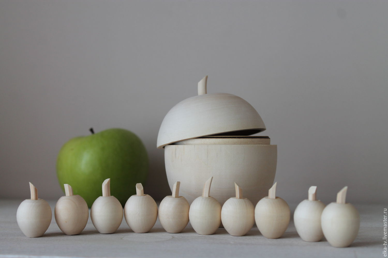 Декупаж и роспись ручной работы. Ярмарка Мастеров - ручная работа. Купить Деревянное яблоко+10 мини яблок. Handmade. Яблоко