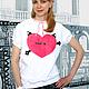 Футболки, майки ручной работы. Ярмарка Мастеров - ручная работа. Купить Женская футболка Love is. Handmade. Белый, футболка