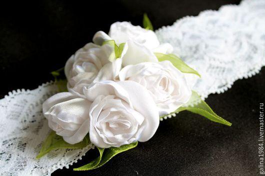 """Детская бижутерия ручной работы. Ярмарка Мастеров - ручная работа. Купить Повязка для волос """"Белые розы"""". Handmade. Белый"""