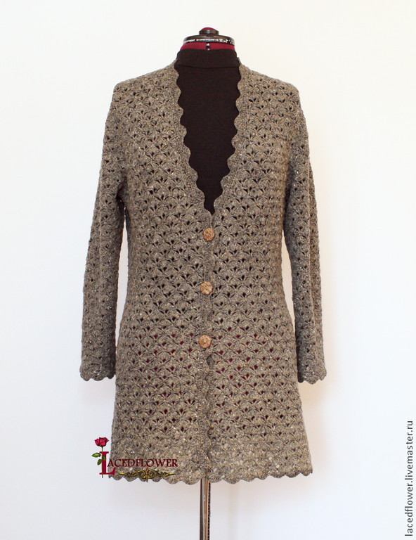 Cardigan tweed crocheted 'Mists of Scotland', Cardigans, Permian,  Фото №1