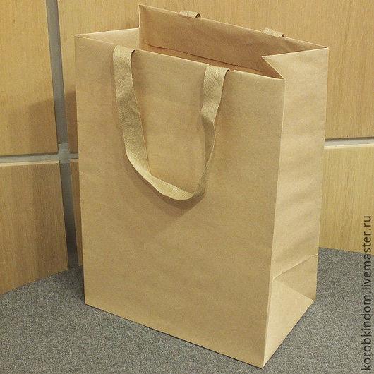 Упаковка ручной работы. Ярмарка Мастеров - ручная работа. Купить Крафт-пакет 25х35х15 с ручками из лент текстильных. Handmade. Пакет