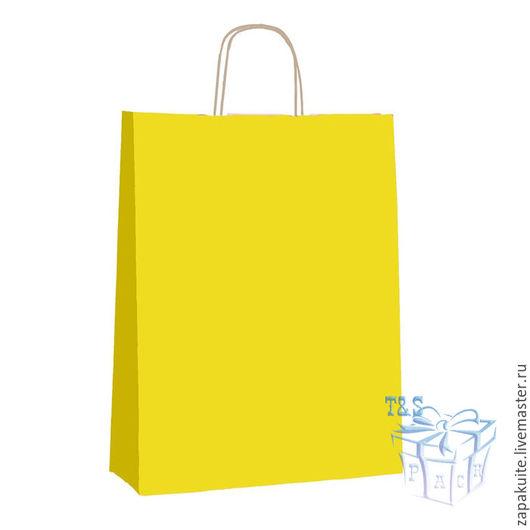 Упаковка ручной работы. Ярмарка Мастеров - ручная работа. Купить Пакет с ручками, 25х29х11 см, крафт, с кручеными ручками, желтый. Handmade.