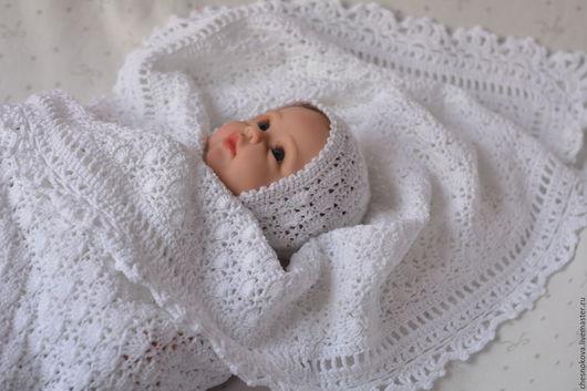 Детские пледы крючком и спицами и вязаные подушки к ним