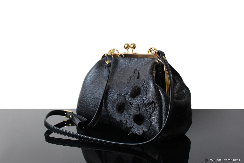 b4893e30371e Женские сумки ручной работы. Ярмарка Мастеров - ручная работа. Купить  Черный кожаный саквояж с ...