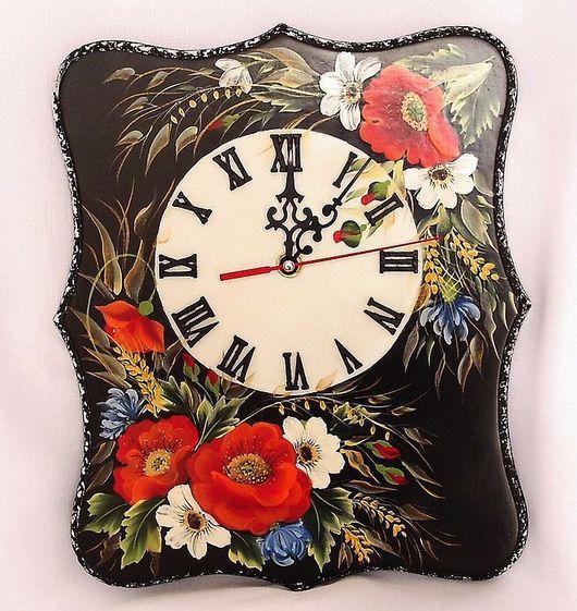 """Часы для дома ручной работы. Ярмарка Мастеров - ручная работа. Купить Часы  интерьерные с росписью   """" Полевые цветы"""". Handmade."""