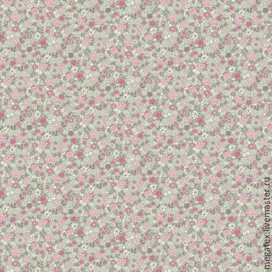 перкаль от Трехгорной мануфактуры `Ситцевый цветочек темный` (основной фон ткани голубовато-серый) Ткани и фурнитура МегаТекс