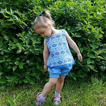 Работы для детей, ручной работы. Ярмарка Мастеров - ручная работа Комплект из 3 частей летний детский джинсовый. Handmade.