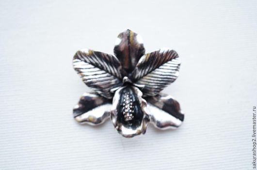 Для украшений ручной работы. Ярмарка Мастеров - ручная работа. Купить Кулон орхидея под серебро 42х36мм. Handmade. Серебряный