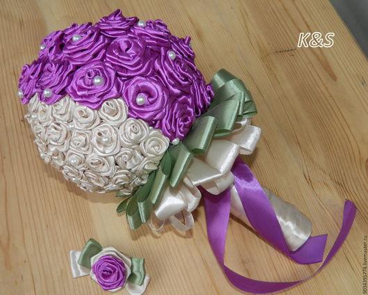 Свадебные цветы ручной работы. Ярмарка Мастеров - ручная работа. Купить Свадебный букет  Таганрог. Handmade. Комбинированный, ленты атласные
