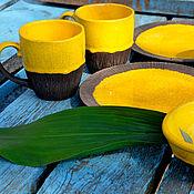 Сервизы ручной работы. Ярмарка Мастеров - ручная работа Много солнца - сервиз, авторский набор посуды из глины ручной работы. Handmade.