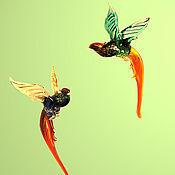 Подарки к праздникам ручной работы. Ярмарка Мастеров - ручная работа Интерьерное стеклянное украшение - птица Фазан. Handmade.