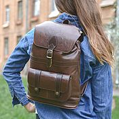 Сумки и аксессуары handmade. Livemaster - original item Backpack female leather brown Primavera Mod R11-622. Handmade.