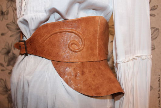 """Пояса, ремни ручной работы. Ярмарка Мастеров - ручная работа. Купить Кожаный пояс-баска """"Афина"""". Handmade. Рыжий"""