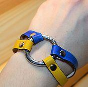 Украшения ручной работы. Ярмарка Мастеров - ручная работа Браслетик из кожи желто-синий. Handmade.