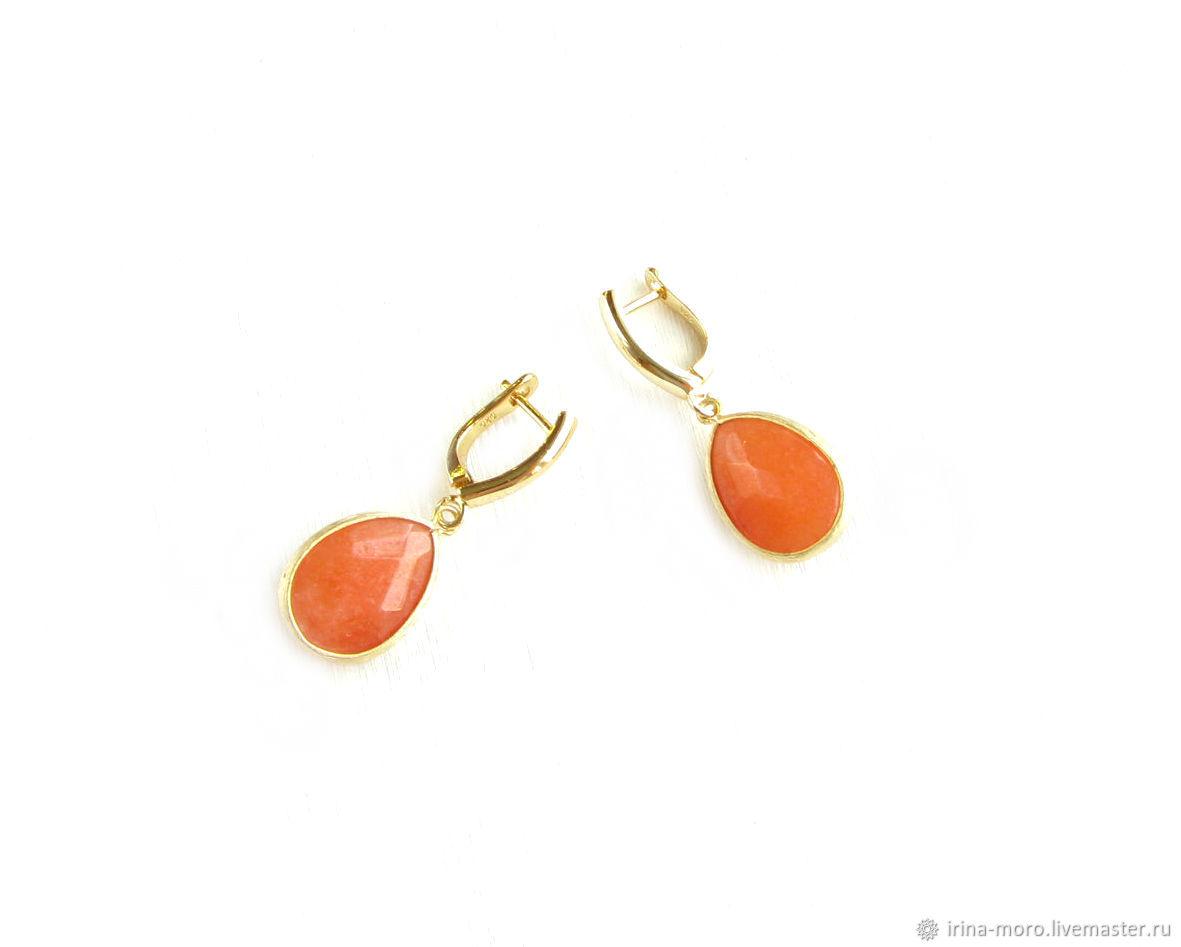Orange earrings with jade 'Citrus' bright large earrings, Earrings, Moscow,  Фото №1