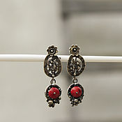 Украшения handmade. Livemaster - original item Earrings Apples. Silver, coral.. Handmade.