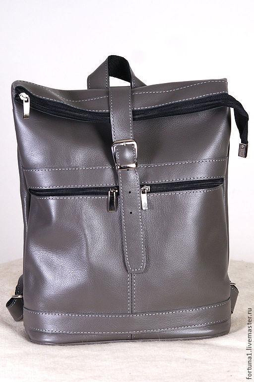 Рюкзаки ручной работы. Ярмарка Мастеров - ручная работа. Купить Рюкзак городской кожаный 51. Handmade. Серый, кожаный рюкзак