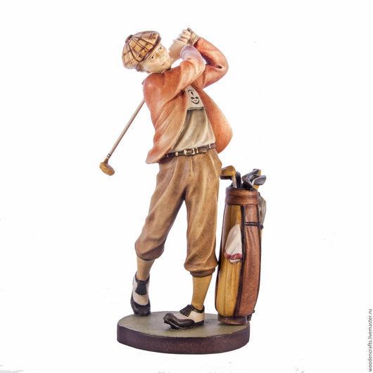 Статуэтки ручной работы. Ярмарка Мастеров - ручная работа. Купить Гольфист из дерева. Handmade. Комбинированный, гольфист, мальчик, дерево