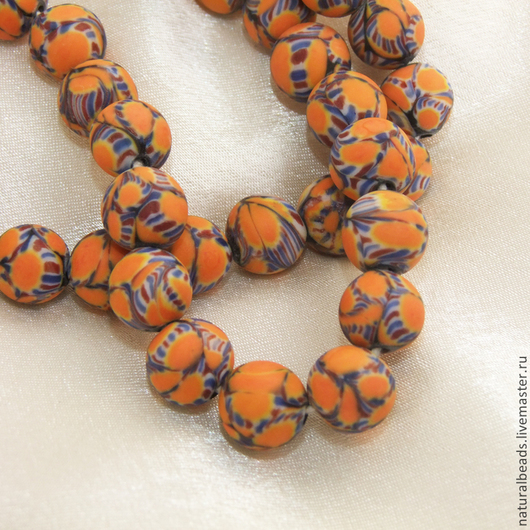 Для украшений ручной работы. Ярмарка Мастеров - ручная работа. Купить ОРАНЖЕВЫЕ ПЯТНА бусины лэмпворк шар Индонезия. Handmade.
