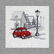 Pictures handmade. Livemaster - original item Cross stitch Adventure Red car. Handmade.