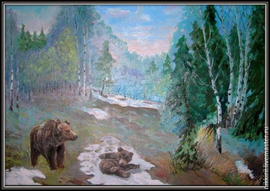 Животные ручной работы. Ярмарка Мастеров - ручная работа. Купить Медведи в весеннем лесу. Handmade. Комбинированный, животное, медвежонок
