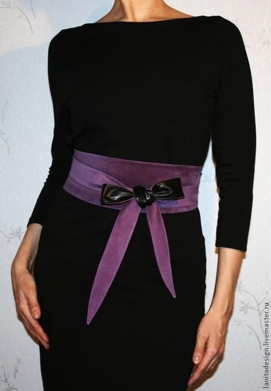 """Пояса, ремни ручной работы. Двусторонний кожаный пояс """"Black & Violet"""". Lanita Design. Ярмарка Мастеров."""