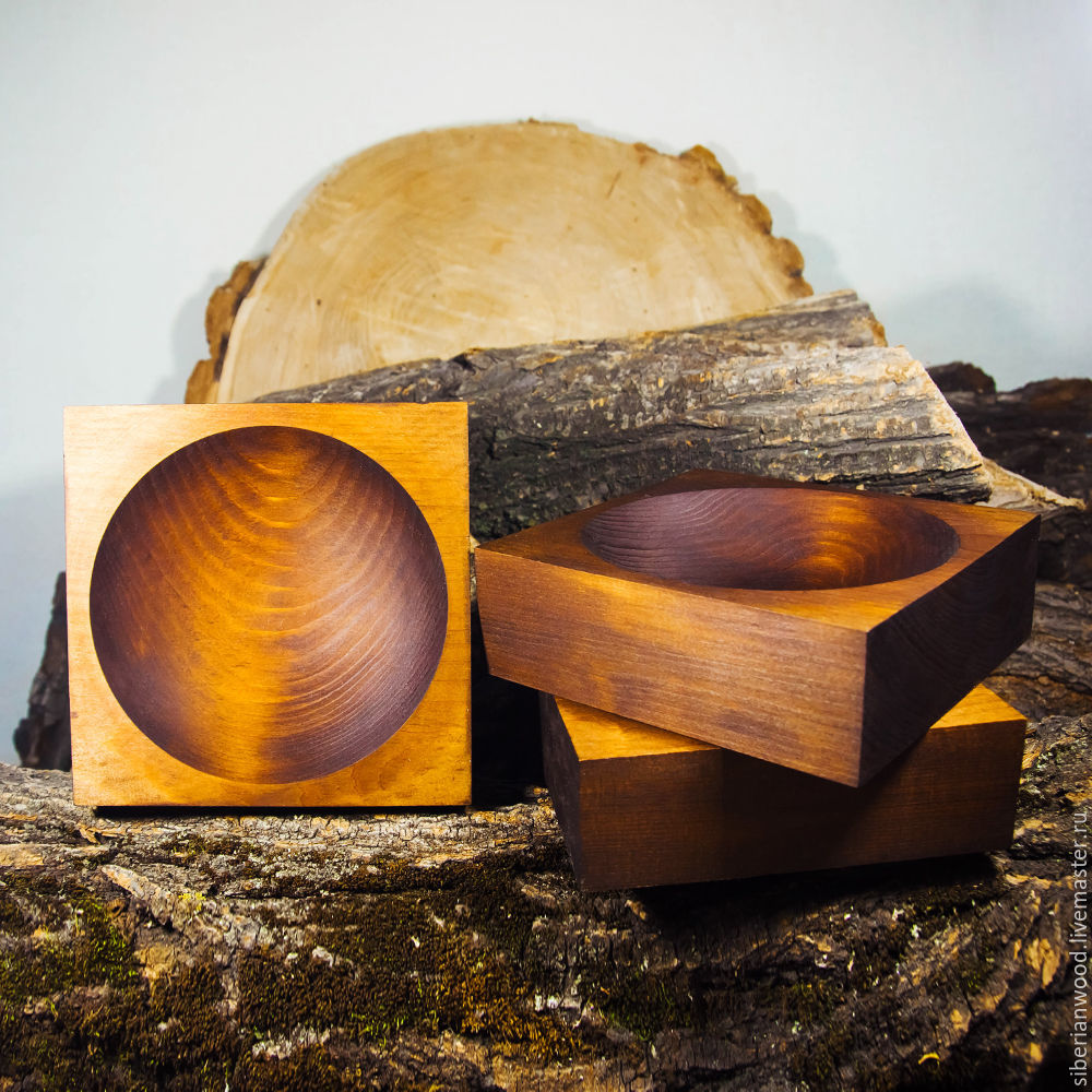 Set of 3 PCs Bowl from the Siberian Cedar Candy bowl Dishes with cedar ТN20, Plates, Novokuznetsk,  Фото №1
