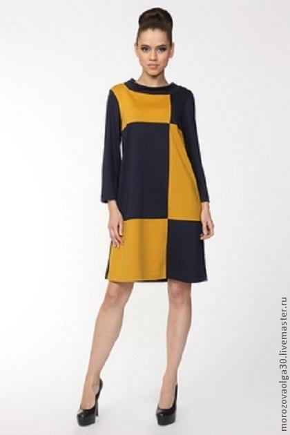 Городское авторское платье из итальянского трикотажа джерси, имеет актуальный трапециевидный А-силуэт  в ретро-стиле 60-х. \r\nпрекрасно подходит к любой фигуре, в том числе беременным и полным дамам.