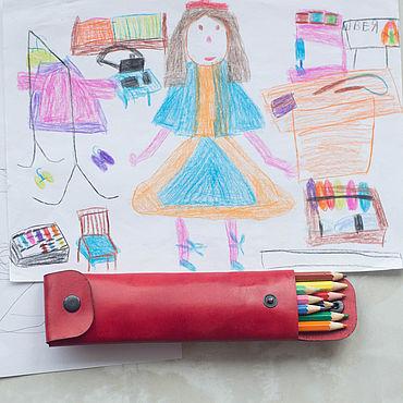 Канцелярские товары ручной работы. Ярмарка Мастеров - ручная работа Кожаный пенал для ручек и карандашей, пенал-трансформер - красный. Handmade.