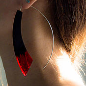 Украшения handmade. Livemaster - original item Red long silver earrings with wood and resin jewelry. Handmade.
