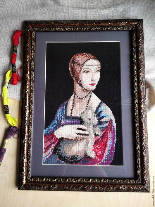 """Репродукции ручной работы. Ярмарка Мастеров - ручная работа. Купить Леонардо да Винчи""""Дама с горностаем"""" Вышивка крестом. Handmade. Темно-серый"""