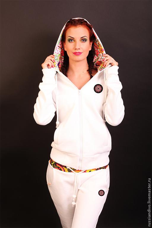 Спортивная одежда ручной работы. Ярмарка Мастеров - ручная работа. Купить Толстовка Панаш на молнии (белый). Handmade. Белый
