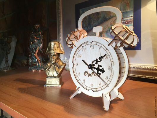 """Часы для дома ручной работы. Ярмарка Мастеров - ручная работа. Купить 3D Пазл """"Будильник"""". Handmade. Чёрно-белый, фанера"""
