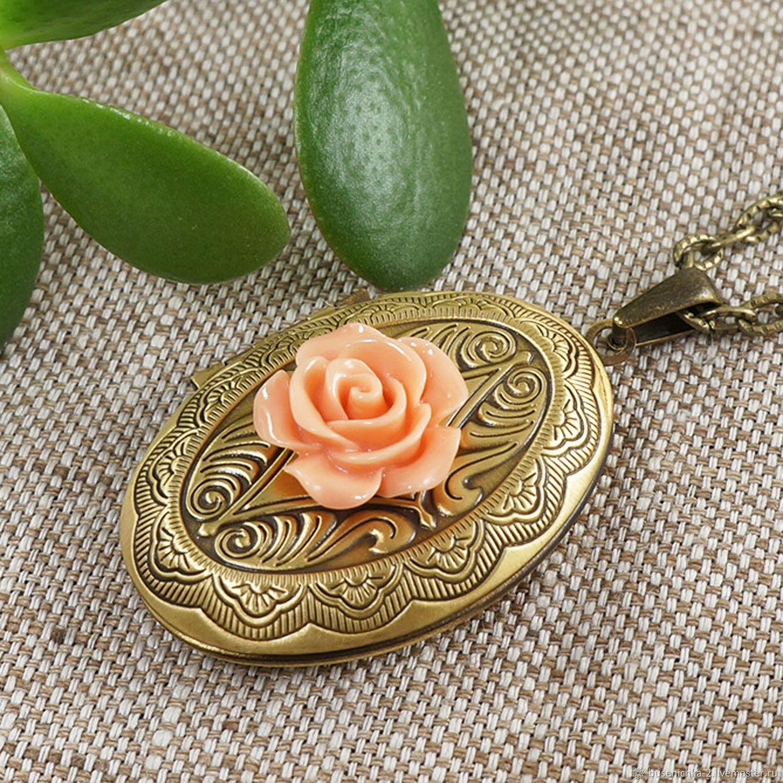 Медальон Роза коралловая пудровая bronze, Подвеска, Москва,  Фото №1
