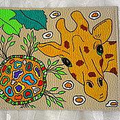 """Канцелярские товары ручной работы. Ярмарка Мастеров - ручная работа Обложка на паспорт """"Любопытный жираф"""". Handmade."""