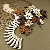 handmade. Livemaster - original item Dawn Desert Wind. Necklace, brooch made of genuine leather. Handmade.