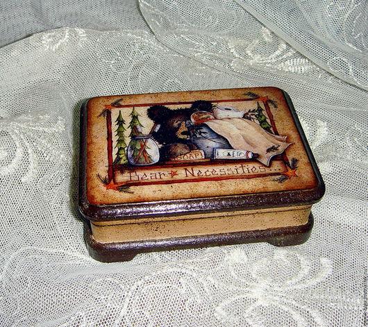 """Шкатулки ручной работы. Ярмарка Мастеров - ручная работа. Купить Шкатулка """"Медвеженок"""". Handmade. Бежевый, коробочка для подарка, для карт, мдф"""