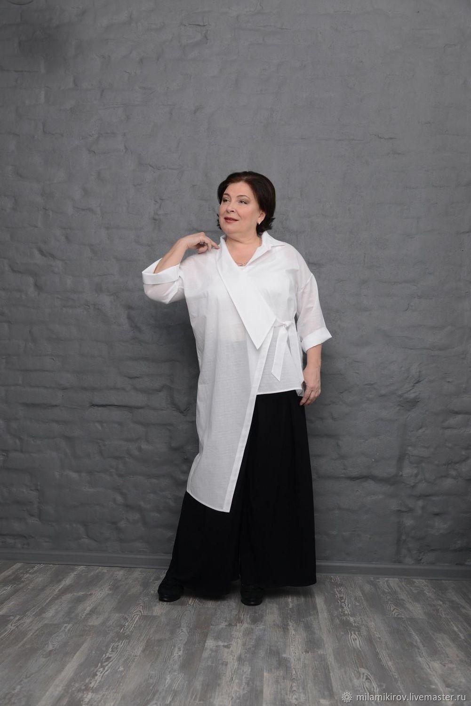 Shirt cotton long white asymmetrical drawstring. Art.1590, Shirts, Kirov,  Фото №1