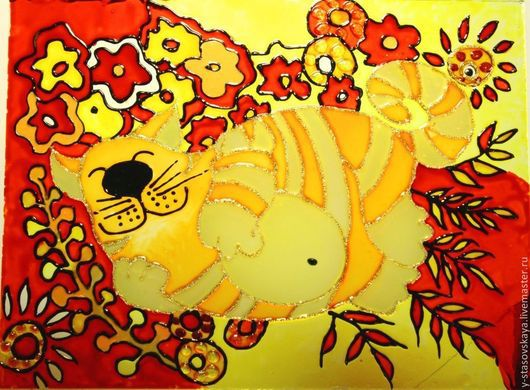 Витражная картина Спящий рыжий кот. Размер: 25см х 19см. Автор: Стасовская Юлия.