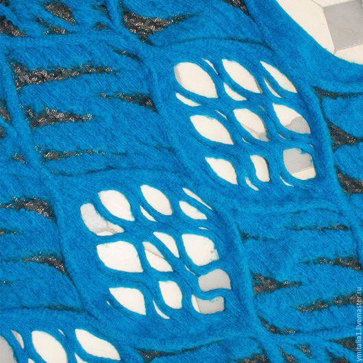 Шитье ручной работы. Ярмарка Мастеров - ручная работа. Купить Трикотаж-жилет  шерстяной M.BURANI бирюзово-голубой. Handmade.