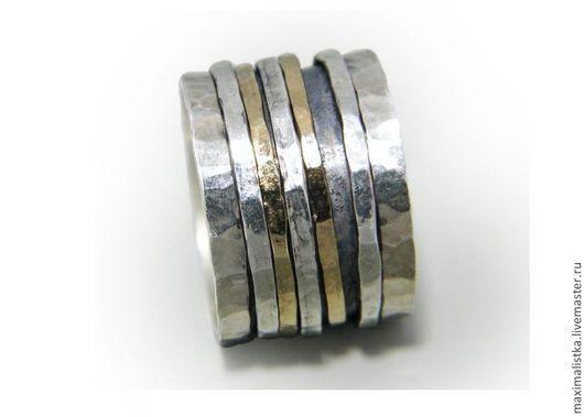 """Кольца ручной работы. Ярмарка Мастеров - ручная работа. Купить Кольцо """"Бамбуковое"""" из серебра и золота. Handmade. Серебряный, вращение, чеканное"""