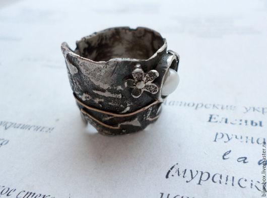 Кольца ручной работы. Ярмарка Мастеров - ручная работа. Купить Весна. Кольцо. Handmade. Темно-серый, жемчуг