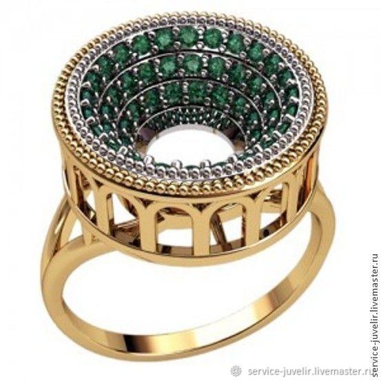 Кольцо  серебренное, золотое  КОЛИЗЕЙ с камнями, Кольца, Пенза,  Фото №1