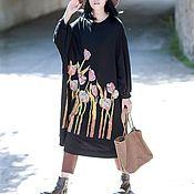 Одежда ручной работы. Ярмарка Мастеров - ручная работа черный Ультра свободная одежда/ платье большого размера. Handmade.
