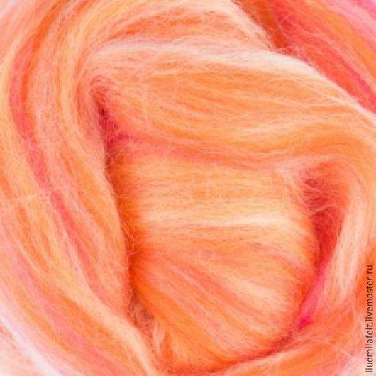 Валяние ручной работы. Ярмарка Мастеров - ручная работа. Купить Бленд шерсть мериноса 70%шелк тусса30% Закат. Handmade. Оранжевый