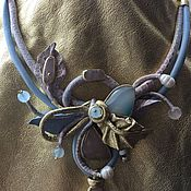 Necklace handmade. Livemaster - original item NECKLACE MADE OF LEATHER AND NATURAL STONES. Handmade.