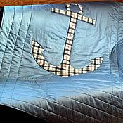 """Для дома и интерьера ручной работы. Ярмарка Мастеров - ручная работа Покрывало """"Морское-3"""" аппликация. Handmade."""